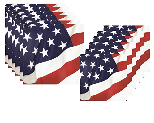 Patriotic American Flag Celebration Napkin Bundle for 36 Guests - Includes Lunch and Beverage Sizes