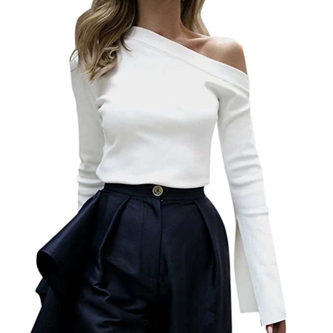 Yannerr Camiseta Tops de Trompeta Manga Larga para Mujer, Primavera Hombros Descubiertos Correa Blanco Suelta