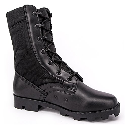 WIDEWAY Men's Military Jungle Boots Full Grain Leather Speedlace Desert Boots Combat Outdoor Work Boots (Black) (Speedlace Black Leather Combat Boots)