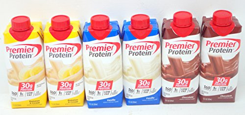 Premier Protein Shakes 6 (11 Oz.) Chocolate, Vanilla & Bananas & Cream - Small Storage Space Friendly! -