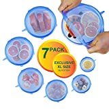 Silicone Stretch Lids Reusable, 7 Pack Various Sizes Moving Wrap Seal Top Covers for Bowls, KOYIDA Super Large XL and Small, Blue