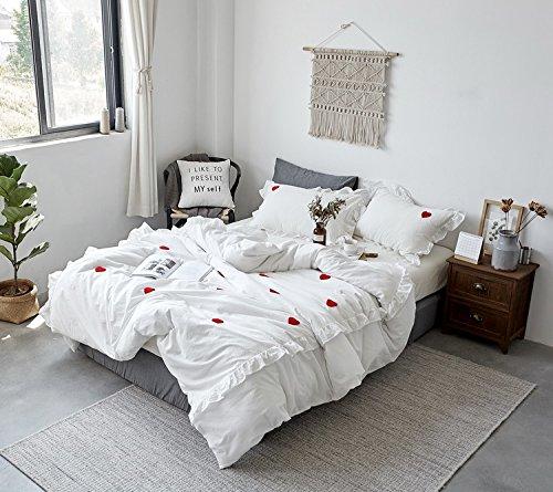 韓式無地純色 水洗い綿100% 荷葉形フリル 寝具カバーセット 掛け布団カバー シーツ 枕カバー 心模様 キング ホワイト B07CZFG3ZN キング|ホワイト ホワイト キング