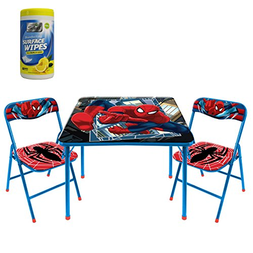 Marvel Spiderman 3-Piece Play and Activity Folding Square Table and Chair Set with 3-Pack Cleaning Wipes, 105 Count (Kiddie Blue Rocker Set)