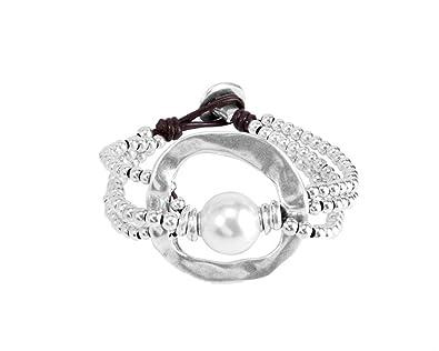 UNO DE 50 Pulsera de Mujer Classics bañada Piel Perla Color Blanco 19 cm - pul1130mtlbpl0 m: Amazon.es: Joyería