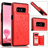 Back Wallet Case for Samsung Galaxy Note 8 with Stand,QFFUN Elegant Embossed Design [Butterfly Flower] Lightweight Slim Fit Leather Phone Case with Card Holder Protective Bumper Flip Cover - Red