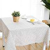 DW&HX Nordic Cotton Linen Table Cover Tablecloths Table Cloth Small Fresh Square Lattice Home Kitchen Easy Care Washable Tablecloth-Q 140x180cm(55x71inch)