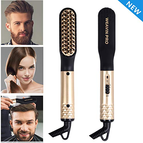 Beard Straightener for Men (2019) Cordless Beard Straightening Comb Ionic Heat Beard Brush USB Charging Beard Iron Beard Hair Straightener Brush for Men & Women-For Home & Travel (Gold)