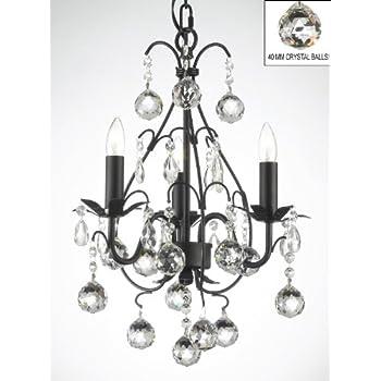 wrought iron mini crystal chandelier chandeliers lighting w crystal balls