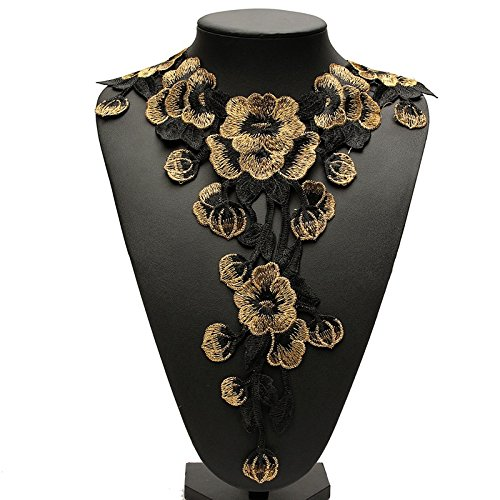 3D Flower Floral Guipure Collar Neckline Lace Trim Embroidered Neck Applique Sewing Craft Classic Embroidery Collar Fake Gifts