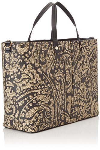 Borbonese Shopping Oriz C/t Medium, Borsa a Spalla Donna, Verde (Safari Cach/Nero), 33 x 26 x 12.5 cm (W x H x L)