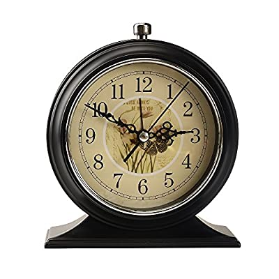 LauderHome 5-Inch Vintage Retro Old Fashioned Decorative Desk Clock with Nightlight, Quartz Analog Large Numerals, Battery Operated, Loud Alarm Clock - Nightlight function: time displays clearly even in the dark. The metal frame and base bring stronger resistance to impact and better texture. European retro design with good practicability adds a touch of unique aesthetic charm to the modern home. - clocks, bedroom-decor, bedroom - 51DZr3YgrsL. SS400  -