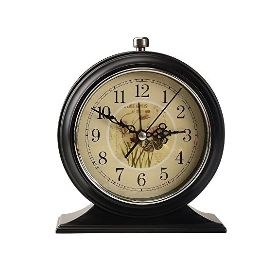 LauderHome 5-Inch Vintage Retro Old Fashioned Decorative Desk Clock with Nightlight, Quartz Analog Large Numerals… - Nightlight function: time displays clearly even in the dark. The metal frame and base bring stronger resistance to impact and better texture. European retro design with good practicability adds a touch of unique aesthetic charm to the modern home. - clocks, bedroom-decor, bedroom - 51DZr3YgrsL. SS570  -