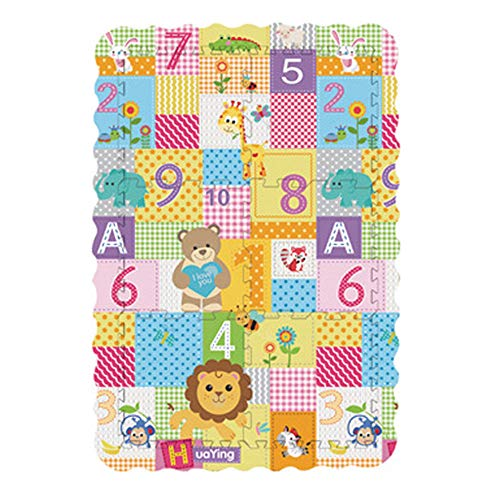Auvem Kids Foam Puzzle Play Mat, Baby Crawl Floor Exercise Mat with Fence Play Bubble Tile Non-Toxic Toy, Numbers & Animal (Multicolor)
