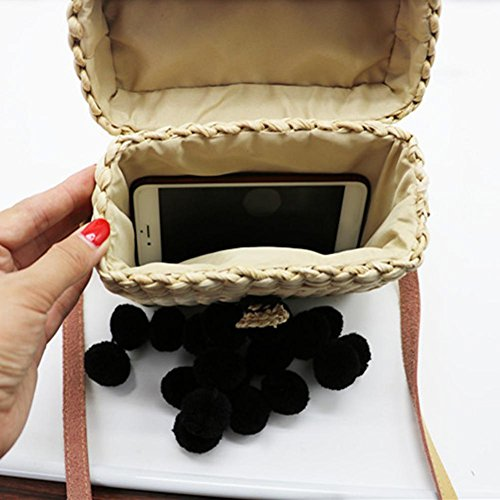 Sac l'épaule Su Style pour artisanal noir luoyu Voyage Extérieure Tissage Main Sac à boule Femmes Sac de à Paille Créatif Rectangle été plage qwXAvfxCw