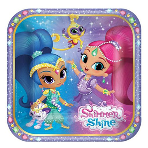 SHIMMER AND SHINE SMALL PAPER PLATES (8) ~ Birthday Party Supplies Cake Dessert from Unbranded