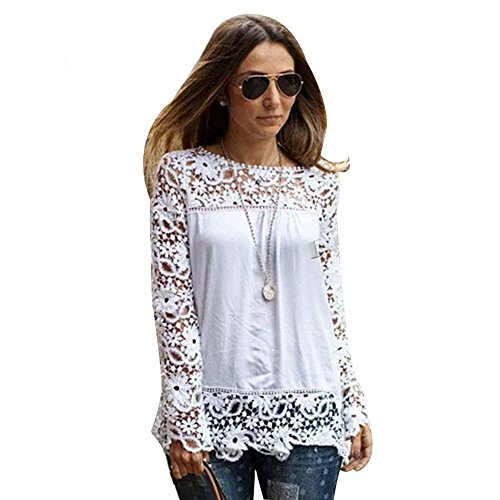 Chen Women White Sheer Sleeve Embroidery Top Blouse Lace Crochet Chiffon Shirt (10)