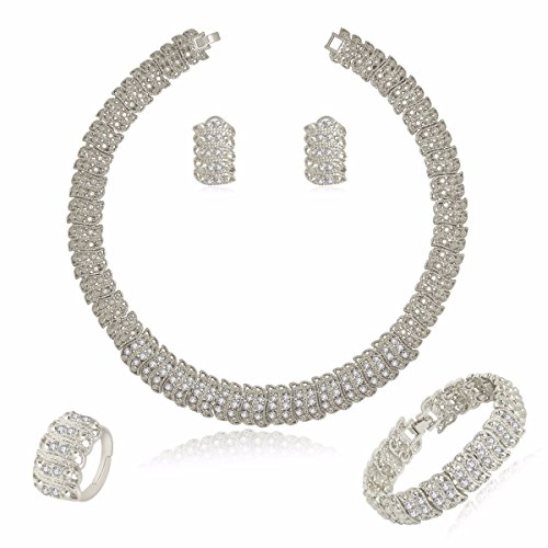 MOOCHI 4PCs Platinum Plated Crystal Chain Jewelry Set