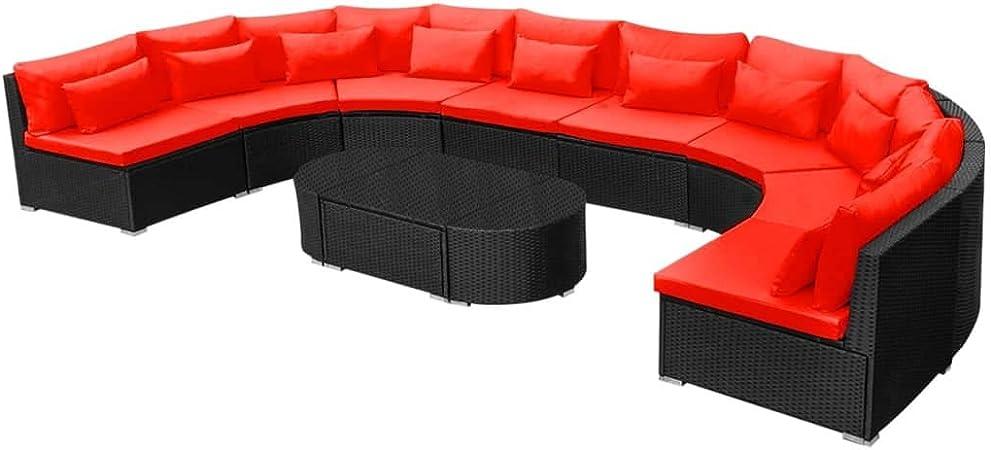 vidaXL Juego de Muebles de Jardín y Cojines 11 Piezas Poli Ratán Sintético Rojo Sofás Jardin Sillones Patio Conjunto Mobiliario Exterior Tipo Mimbre: Amazon.es: Hogar