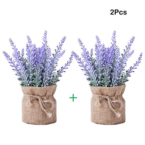 - YAPASPT 2 Piece Burlap Potted Lavender Flowers - Artificial Fake Flower and Plant Flocked Charming Purple for Warm and Loving Home or Venue Decor