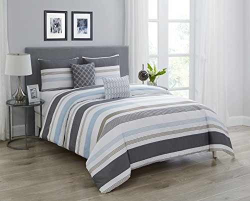 Wonder Home 5-pc. Cotton Shell Striped Comforter Set, Oversized Grey and White Comforter Overfilled with Plush Down Alternative, Luxury Comforter Set with 2 Shams, 2 Embroidered Pillows Queen, 92