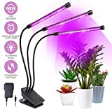 Grow Light, Plant Lights for Indoor Plants, 30W 60 LED Bulbs Timing Plant Grow Lamp with Timer Red, Blue Spectrum, 3/6/12H Timer 10 Dimmable Levels, 3-Head Divide Control Adjustable Gooseneck