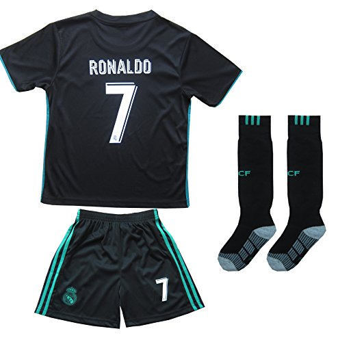 2016/2017 REAL MADRID #7 RONALDO KIDS AWAY SOCCER JERSEY & SHORTS YOUTH SIZES (8-9 YEARS OLD) (8 Soccer Jersey Shirt)