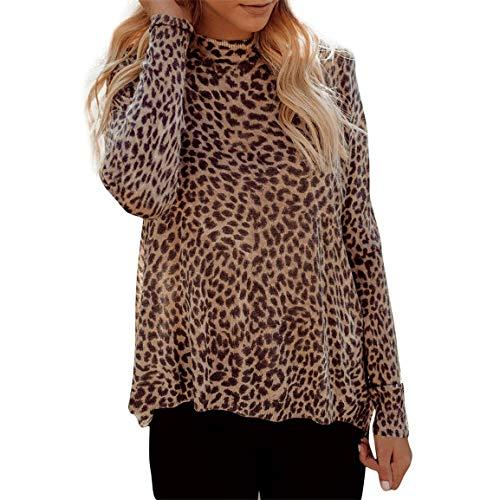 Pullover Leopardenmuster Mode Lange Ständer Frauen Weibliche K31TFJcl
