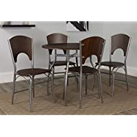 Flash Furniture Hudson 5 Piece Walnut Finish Dinette Set with Chairs
