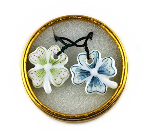 [Happiness Jewelry a Pair Couple Four Leaf Clover Porcelain Necklace Ceramic Pendant Lover Necklace Gifts (2 Pcs] (Cute Couples Halloween Outfits)