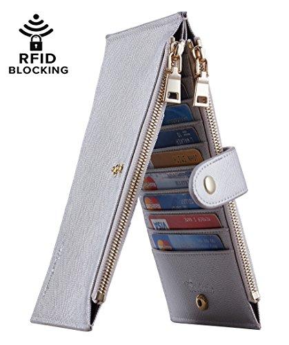 Travelambo Womens Walllet RFID Blocking Bifold Multi Card Case Wallet with Zipper Pocket (CH Gold Silverish 1040F)