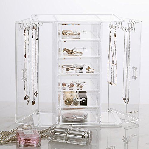 SWEETV Acrylic Jewelry Storage Box - Cosmetic Makeup Tool Organizer Holder with 6 Drawers & 9 Necklace Hanging Hook by SWEETV