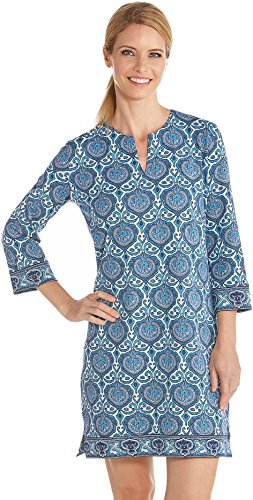 Coolibar UPF 50+ Women's Oceanside Tunic Dress - Sun Protective (Large- Blue Moroccan Mosaic)