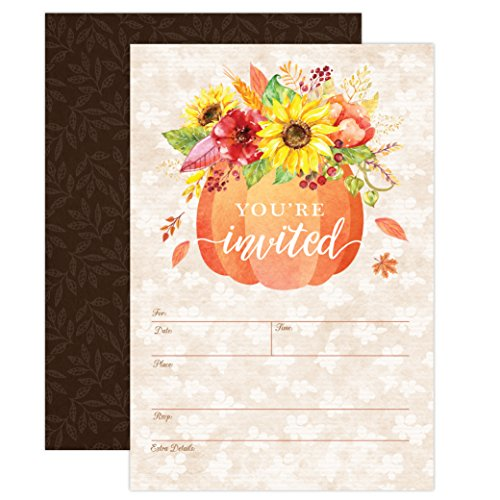 Pumpkin Fall Baby Shower Invitations, Autumn Fall Leaves Party Invite, Housewarming, Bridal Shower, Engagement Party, Gender Reveal Party, 20 Fill in Style with Envelopes]()