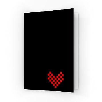 Pixels Cœur Rouge Sur Noir Uni Format A6 Carte De Vœux Par