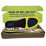Insoles for Men's Work Boots with Extra Cushion :: Full Length :: Memory Foam :: Comfort Orthotic :: Anti-Fatigue :: Replacement Inserts with Adaptive Arch and Gel Inserts (Men's US 10.5-12)