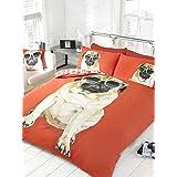 elinens Red Percy Pug Dog Sunglasses Face Duvet Cover Quilt Bedding Set Single (King Size 230Cm X 220Cm)