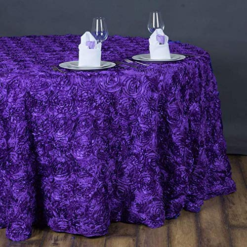 "Efavormart 132"" Wholesale Round Table Cover Purple Grandiose Rosette 3D Satin Tablecloth for Wedding Party Event Decoration"