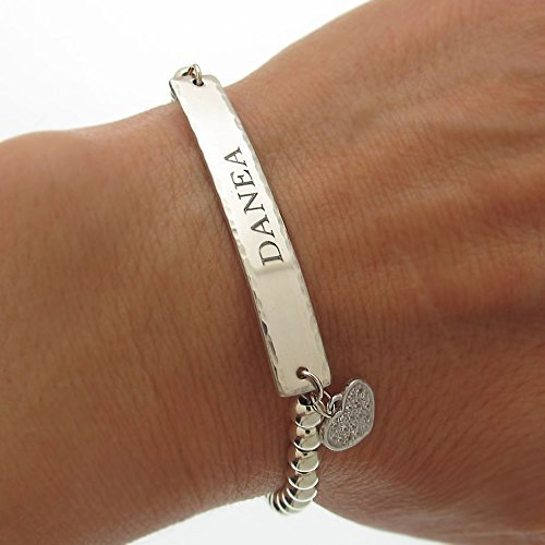 86753dd84b08a Amazon.com: Mothers Day Bracelet, Personalized Heart Charm Bracelet ...
