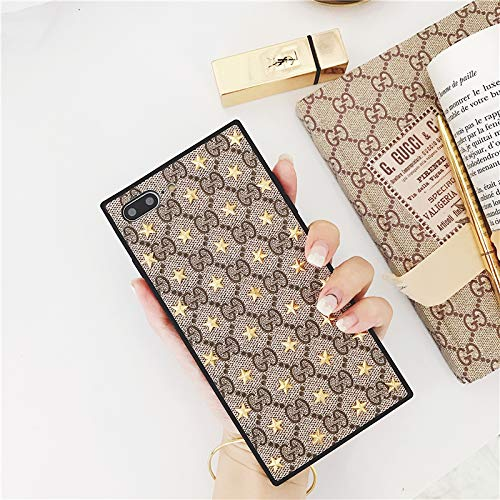 Gucci Louis Vuitton - iPhone8 Plus Case, iPhone7 Plus Case Vintage Elegant Luxury Designer Monogram PU Leather Back Metal Stars Slim Case for iPhone8 Plus iPhone7 Plus