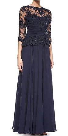 1ce5c91960 Fanmu 3 4-Sleeve Peplum Lace Chiffon Mother of The Bride Dresses Navy US