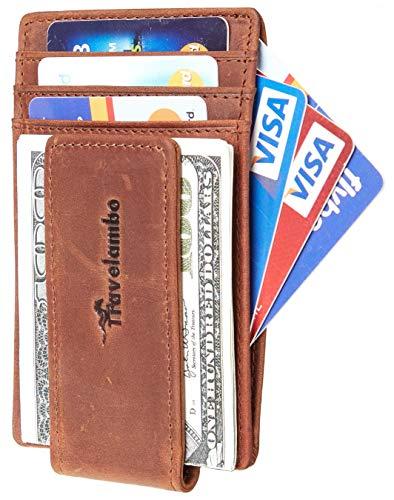 Travelambo Money Clip Front Pocket Wallet Slim Minimalist Wallet RFID Blocking (Elite Deep Brown)
