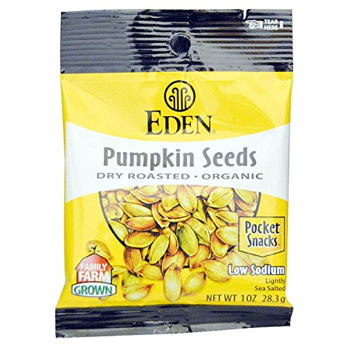 Eden Organic Pumpkin Seeds, Dry Roasted and Salted, Pocket Snacks, 1 Ounce (Pack - 24)