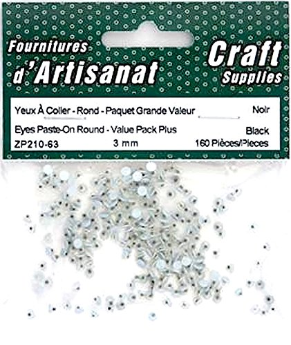 Paste on Movable Eyes Black 3 Mm 160 Pieces Arts Crafts