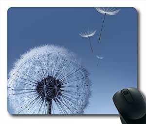 White Dandelion Bule Sky Oblong Shaped Mouse Pad
