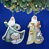 The Bradford Exchange Thomas Kinkade Sugar Coated Santa Ornament Set of 2