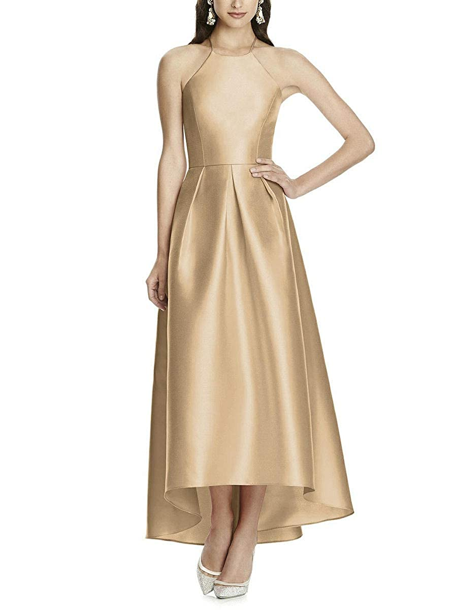 gold NewFex Halter Bridesmaid Dresses for Women High Low Satin Backless Formal Evening Gown