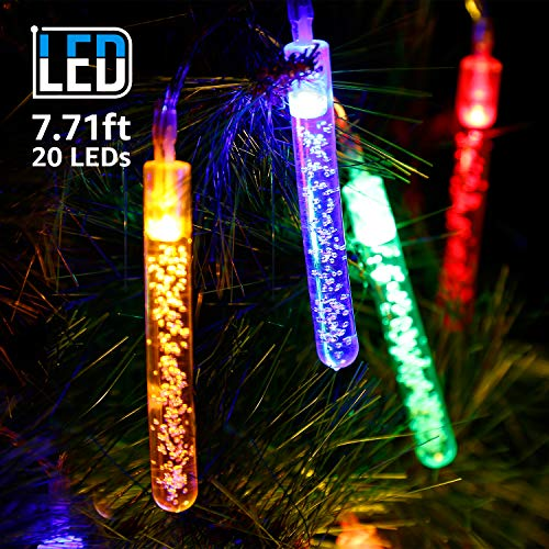 TORCHSTAR 7.71ft 20 LED Bubble Stick String Lights, Battery Powered, Multi-Color Lighting for Halloween, Christmas, Holiday Celebration, Party, Wedding Decoration
