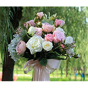 ELEGENCE-Z Wedding Flower, Bridal Bouquets, Artificial Rose Flowers 4 Bouquets with 48 Flower Heads Fake Flower Bouquet 2