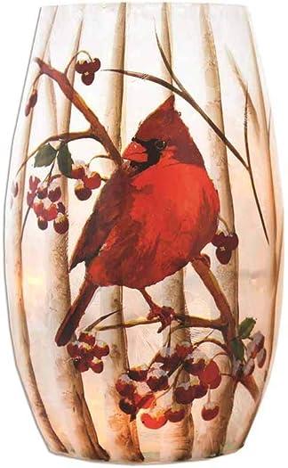 Stony Creek 5.25 Birch and Cardinals Lighted Glass Vase, BTC7204 Cardinal
