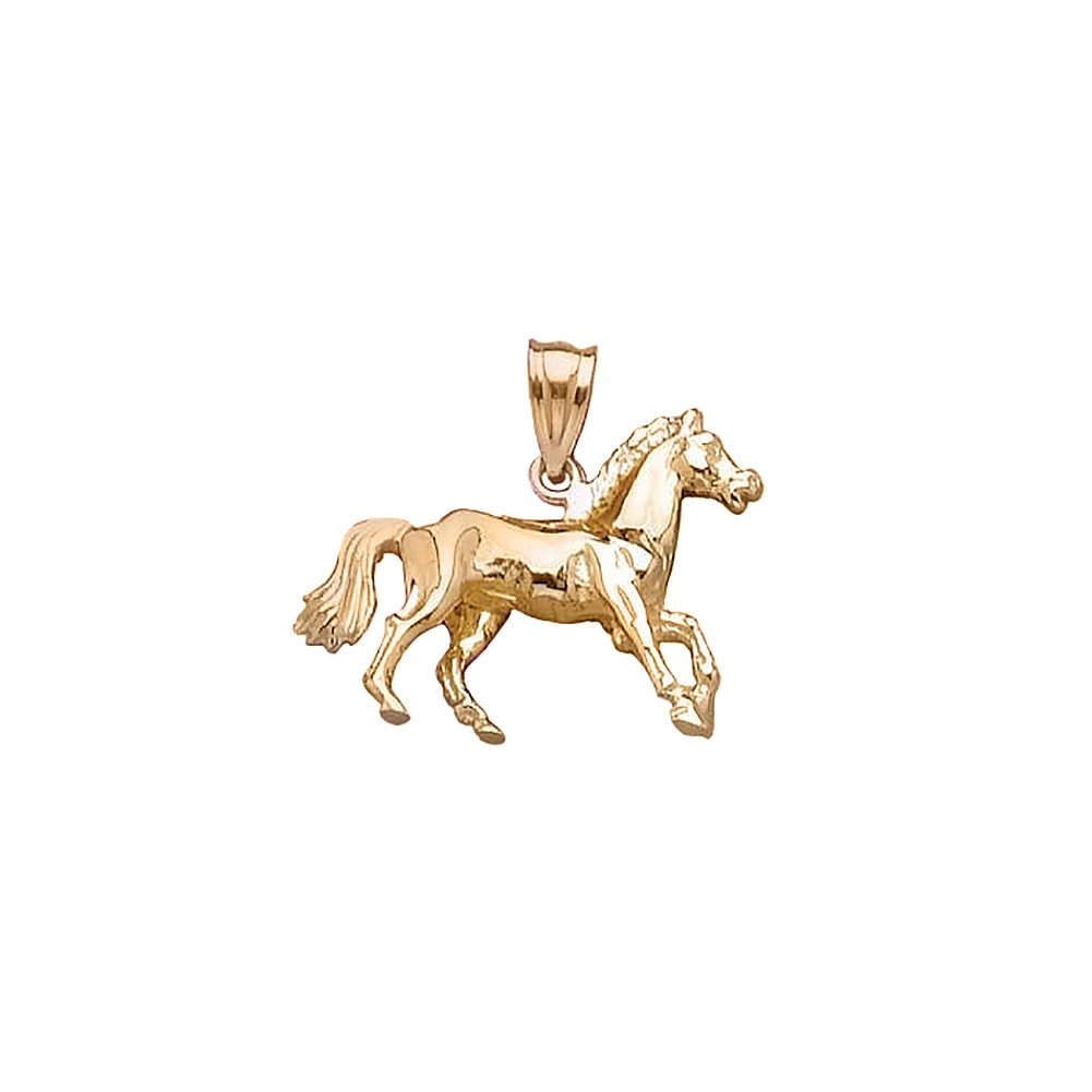 14k Yellow Gold Animal Charm Pendant, 3-D Horse, High Polish